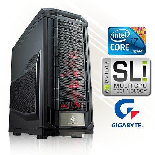 PC24 - Ordenador de sobremesa para gaming (procesador INTEL i7-3770K 4 x 4 GHz Ivy Bridge, 2 tarjetas gráficas nVidia GF GTX 680 con memoria RAM GDDR5 DX11.1 de 2048 MB, memoria RAM DDR3 PC1600 de 16 GB, disco duro Seagate SATA/600 de 1000 GB, placa base: Gigabyte GA-Z77X-UD3H zócalo 1155, reproductor de DVD LG de 22x, fuente de alimentación Thermaltake 80+ Power ATX de 750 W) I7-3770 K con 2 x GTX 680