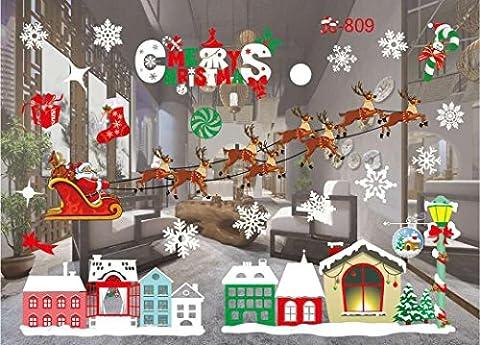 Weihnachtssticker AMUSTER Weihnachten Wandtattoo Wohnzimmer Weihnachten Weihnachtsmann Schneemann Elch Wandaufkleber Fenster Dekor (I)
