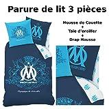 OM - Parure de lit (3pcs) - Housse de Couette (140x200) + Taie d'Oreiller (63x63) + Drap housse (90x190) - Blason Olympique de Marseille