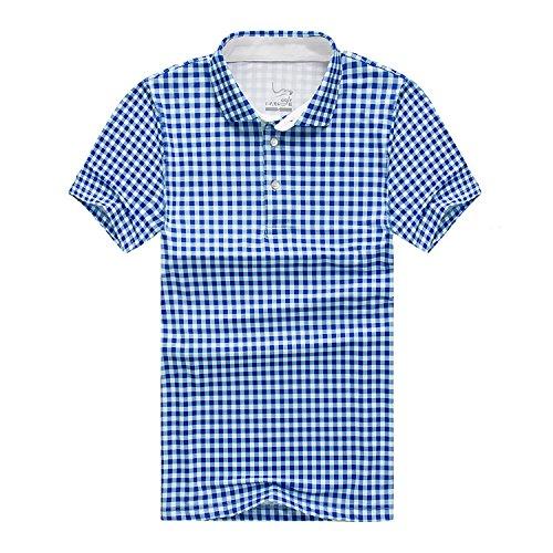 EAGEGOF Herren Polo Shirt Golf Funktional Sport T-Shirt, Plaid Blau - M