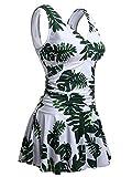 Women's Plus-Size Skirted Swimwuit Polka Dot Shaping Body One Piece Swim Dresses Swimwear with Adjustable Shoulder Straps