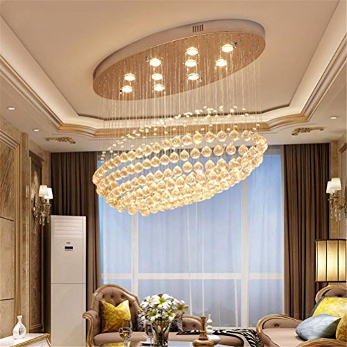 WQRTT® Kristall Leuchter Led Restaurant Lichter Modern Kreativ Oval Pendelleuchte Deckenleuchten Einfach Bar Leuchter , 90*30*60Cm