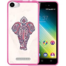 Funda Wiko Lenny 2, WoowCase [ Wiko Lenny 2 ] Funda Silicona Gel Flexible Indian Style Elefante, Carcasa Case TPU Silicona - Rosa