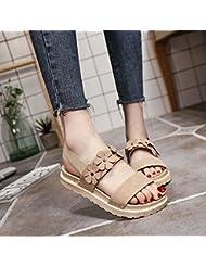 XY&GK Las mujeres sandalias de verano fondo blando gruesa plana con sandalias planas con Muffin 35 Amarillo