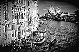 Artland QualitätsbilderAlu Dibond Bilder Alu Art 90 x 60 cm Städte Italien Venedig Foto Schwarz Weiß C7CA Venedig Canal Grande Santa Maria Della Salute