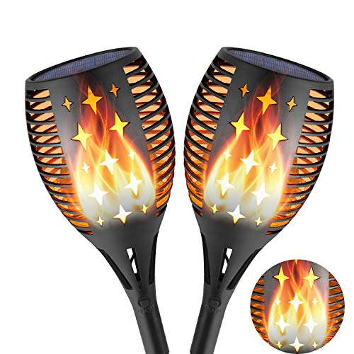 n Fackeln mit realistischen Flammen, 2 Stück LED Stern-Solarlampe Solarleuchten Gartenleuchten für Draußen Terrasse Balkon, Wasserdicht IP65 ()