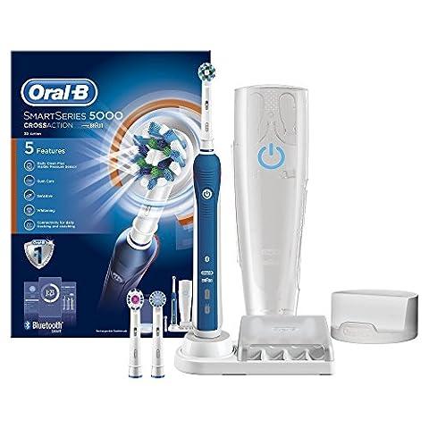 Oral-B SmartSeries 5000 elektrische Zahnbürste, mit Timer und vier Aufsteckbürsten, blau (El Zahnbürste)