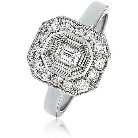 0,80g/VS2certificato ct Smeraldo e taglio baguette Centro con Halo Diamante Anello In Oro Bianco 18K - Smeraldo Baguette Anello