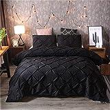 DXSX Bettwäsche Set Bettbezug Und Kissenbezug Luxus Dreidimensionale Prise Falten Seidenblume Reißverschluss Schließung Microfaser Bettwäsche-Set (Schwarz, 200 x 200 cm)