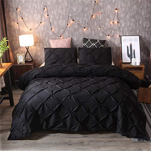 DXSX Bettwäsche Set Bettbezug Und Kissenbezug Luxus Dreidimensionale Prise Falten Seidenblume Reißverschluss Schließung Microfaser Bettwäsche-Set (Schwarz, 200 x 200 cm) -