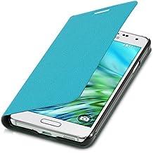 kwmobile Funda con tapa para Samsung Galaxy Alpha en azul claro con recubrimiento de cuero sintético