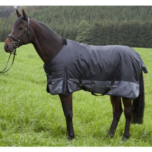 PFIFF 100086 Pferde Winter Decke Riga, Regendecke Pferdedecke Weidedecke, Schwarz/Grau 135cm