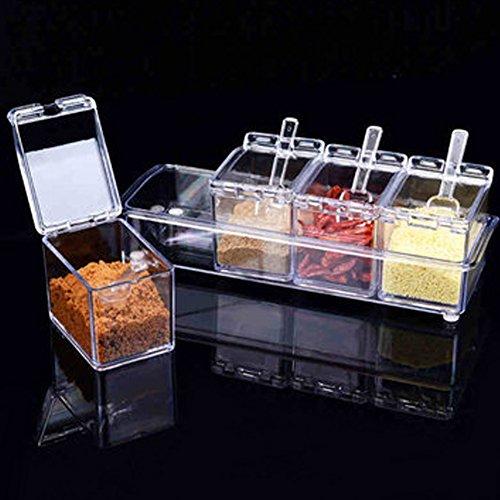 4PCS Kristall Würze Box, abtrennbarem Spice Rack Zucker Salz Aufbewahrungsboxen mit Deckel und Löffel, für Home Küche Spice Rack Paket