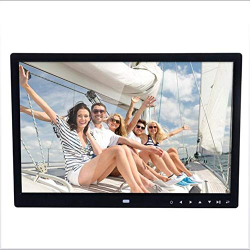 M&M FR Digitaler Bilderrahmen mit 15,4 Zoll Touch-Tasten, LCD-Monitor, High Definition HDMI, elektronischer Fotorahmen, HD-Video/MP3-/Digital-Clock/Ewiger Kalender/Fernbedienung Schwarz -
