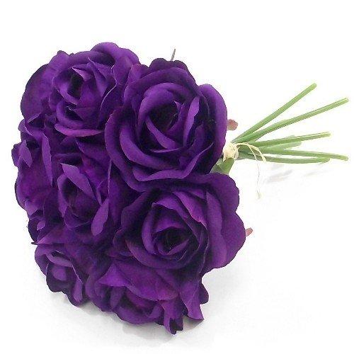 27 Cm Mazzo/Bundle Di Rose Artificiali Viola U2013 9 Grande Fiore Teste U2013  Matrimoni Casa Tomba