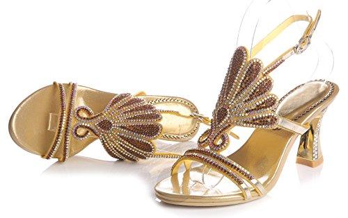 Honeystore Damen's Strass Pfau Pattern Handgemacht Sandalen Gold-02