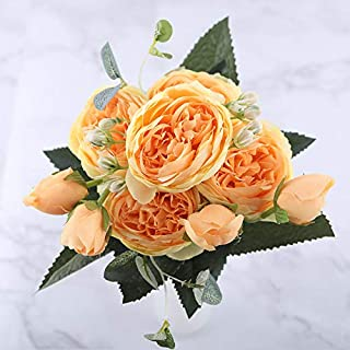 30cm Rose Pink Silk Peony Artificial Flowers Bouquet 5 Big Head and 4 Bud Cheap Fake Flowers for Home Wedding Decoration Indoor, Yellow