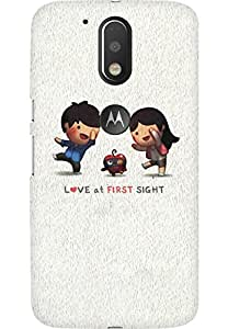 AMEZ designer printed 3d premium high quality back case cover for Moto G4 (Love At First Sight)