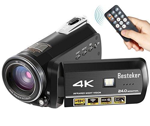 Videocamera 4k besteker 24fps portatile fotocamera digitale ultra hd con wi-fi e visione notturna ir 24mp 30x zoom digitale videocamera 3.0in rotazione touch screen (nero)