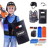 Foxom Einstellbar Taktische Weste Kit für Nerf, Kinder Polizei Kostüm:Helm/Schild/Weste/Magazin×2/Soft Bullets×100/Magazin Halter×2/Goggle