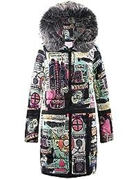 FNKDOR Doudoune Longues Femme Hiver Chaud Impression Manteau à Capuche  Épais Col en Fausse Fourrure Parka a0f11c8d6ab