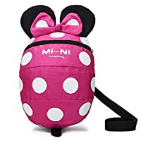 Baby Toddler Safety Harness Backpack Child Kids Cute Cartoon Strap Shoulder Backpack Bag with Reins Leash Rucksack Harness Walkers Tether Belt,FOR 1-3 YEARS OLD TODDLER. (Rose red S-for 1-3 years old)