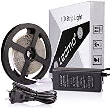 LEDMO Tira LED, Tira LED Blanco 6000K 12V SMD2835-300led IP20 No impermeable 15Lm/led tira led de alta luminosidad 5 metros CRI80 para la iluminación del gabinete de cocina, dormitorio, TV iluminación decorativa, Kit Completo con fuente de alimentación 12V 5A.