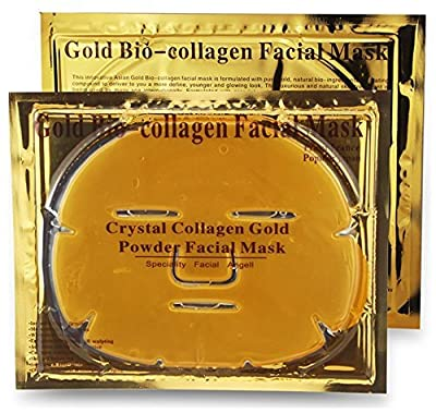 Crystal Gold Collagen Face Facial Mask Bio - Powder Anti Wrinkle Moisture Premium Skin Care Patch Pad with Lavender Essential Oil, Collagen, Haluronic acid (x5 Collagen Masks) from Face Mask