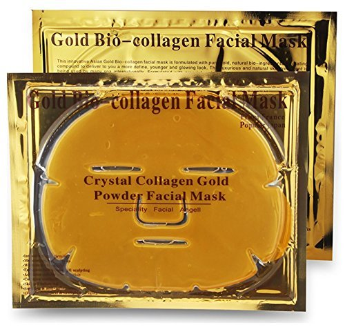 Collagen Skin Care (Crystal Gold Collagen Face Facial Mask Bio - Powder Anti Wrinkle Moisture Premium Skin Care Patch Pad with Lavender Essential Oil, Collagen, Haluronic acid (x5 Collagen Masks) by L' Revolution Beauty)