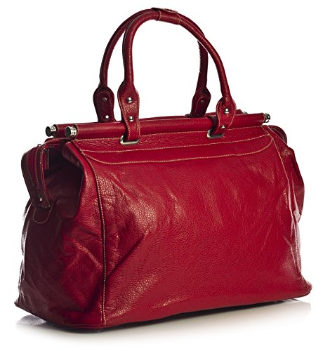 Big Handbag Shop Borsone bagaglio a mano Borsa da viaggio in pelle sintetica in volo Red (LL381)