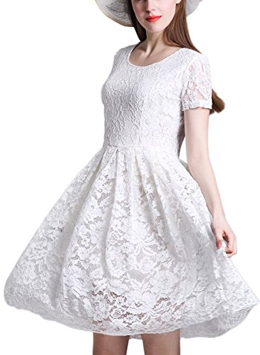 Minetom Femme Vintage Manche Courte Dentelle Floral Col Rond Swing Party Cocktail Robe Blanc