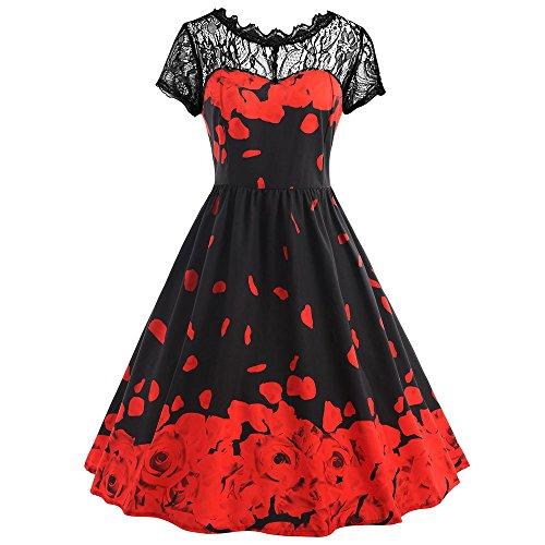 OVERDOSE Damen Boho ärmellos Sommerkleid Frauen Sleeveless Schmetterlings Drucken Asymmetrie Bügel Kleid Butterfly Tube Kleid Strandkleider Partykleid Abendkleid minikleid(Z-Red,EU44)