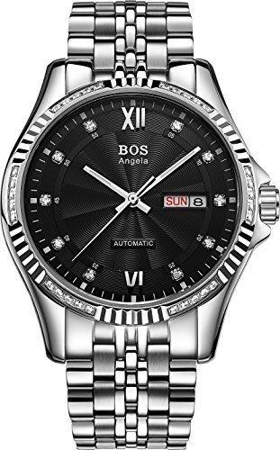 Angela bos self-wind mecánico automático para hombre Plateado Funda muaré Reloj de Muñeca Esfera de color negro banda de acero inoxidable