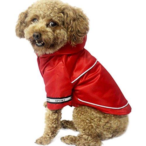 Sport Hundkleidung Hoodie Wasserdichte Verkleidung mit Kapuze Regenjacke Wintermantel Winterjacke Hundejacke Regenmantel Haustier Kleider (Kaffee/Rot, S M L XL)