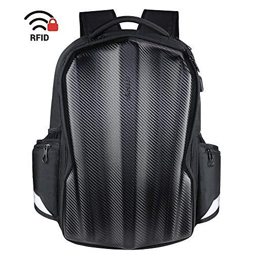 KROSER Reise Laptop Rucksack 17,3 Zoll Geformte Kohlefaser Gaming Computer Rucksack Cool Aussehende Wasserabweisende Laptop Tasche mit RFID-Taschen für Arbeit/Business/Reiten/Män MEHRWEG