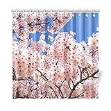 JOCHUAN Home Decor Bad Vorhang Kirschbaum Blüten Sakura Japanisch Rosa Floral Polyester Stoff Wasserdicht Duschvorhang Für Badezimmer, 72 X 72 Zoll Duschvorhänge Haken Enthalten