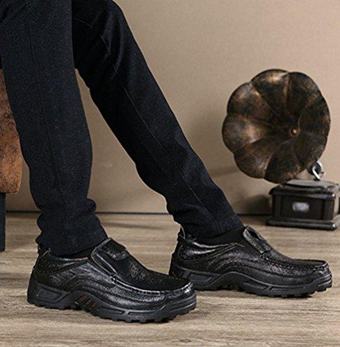 Yiiquan Uomo Piatto Scivolare Su Classico Casuale Affari PU Pelle Mocassini Scarpe con i lacci Nero # 2