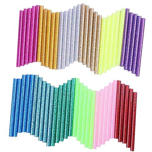 Amatt Mini-Klebesticks in 12 Farben, 60 Stück Heißklebepistole, 7 mm x 10 cm, Heißklebe-Sticks für DIY Kunst 12 Mini-sticks