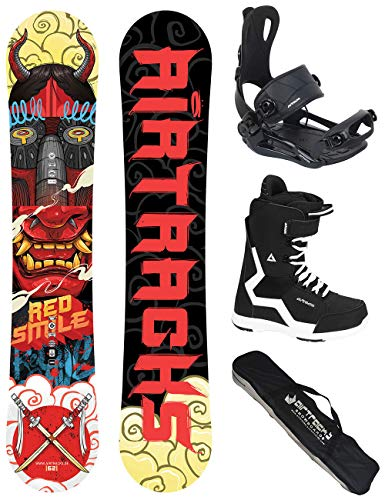 Airtracks 156 159 162 - tavola da snowboard red smile wide hybrid rocker + attacchi per snowboard master + stivali + sb bag, boots savage black 45
