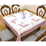"""Linenwalas 4 Seater Square Hand Block Printed Cotton Table Cover & 4 Pcs Napkin Set - 54""""x 54""""- Yellow Floral With Abstract Orange Print"""