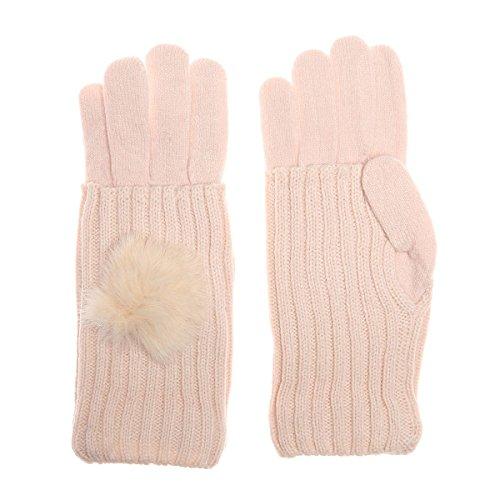 La Modeuse - Gants2 en 1 en maille composés de : - une paire de gants uni - une paire de mitaines décorées d'un pompon Composition: 100% acrylique Rose