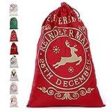 Enjoygoeu Weihnachtsmann Sack Groß Santa Sack Weihnachtssack Nikolaussack Gabensack Weihnachtsdekoration Weihnachtssack Jute Geschenkbeutel Weihnachten für Kinder (Red Delivered)