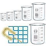 Wandefol Borosilikatglas Bechergläser Set mit klare Ausguss Meßbecher mit Zylinderbürste und Label Aufkleber für Schulwissenschaftliches Projekt und Party 25ml 50ml 100ml 250ml 400ml 600ml