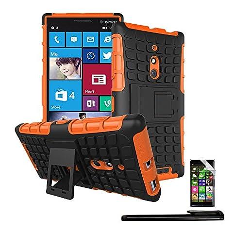 4in1 Hybride Housse pour - Nokia Lumia 830 - Case TPU étui de protection / Pochette téléphone Coque / Fonction chevalet réglable en ORANGE + 1x Stylet + 1x Film de