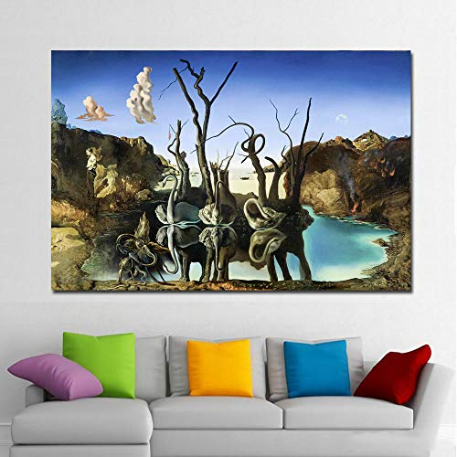 Modern Canvas Painting Wall Art Salvador Dali Painting Swans Reflecting Elephants Wall Pictures For Living Room Home Decor 50Cmx70Cm - Swans Reflecting Elephants Von Dali