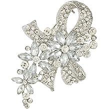 Ever Faith Fiore di cristallo austriaco Bowknot nuziale Spilla Cancella N01521-1