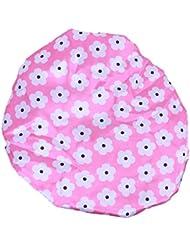 Bonnet de Douche Réutilisable Couverture de Cheveux Satin Spa - Pêche avec Motif Fleur