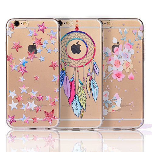 "Sunroyal 3 x Coque iPhone 7 (4,7""),3 pièces Case Housse Ultra Mince Slim Léger Transparent Beau Souple Cristal Clair Gel TPU Bumper Cas Case Cover Coque Couverture Etui Shell Souple Flexible Skin Shel Set 03"