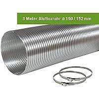 EASYTEC® Aluflexrohr Ø 150 mm/152 mm Länge 3 Meter mit 2 Schellen