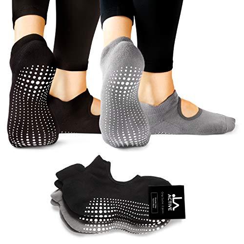 LA Active Grip Socken - Yoga Pilates Balletstange Ballet Abs Noppen Rutschfeste (Schwarz und Grau)